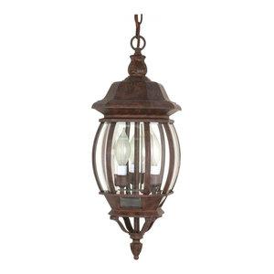Dark Plum Bronze Nuvo Lighting 60//2058 Hanging Lantern with Clear Seeded Glass