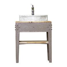 "Warm Grey 31"" Painted Barn Wood w/ Carrara Marble Vessel Sink Stand Package"