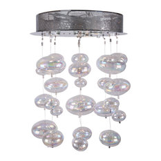 4 Light Bubbles Ceiling Mount Chandelier in Chrome Finish with Rainbow Glass