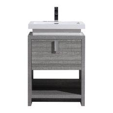 Levi Modern Bathroom Vanity With Cubby Hole High Gloss Ash Gray 24-inch