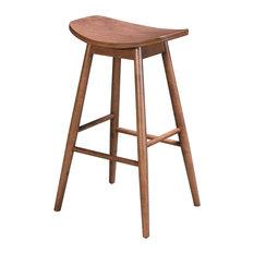 Country Farm Bar Side Stool Chair Barstool Set Of 2 Walnut Brown Wood Pub