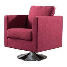 Attirant GDF Studio Hahn Mid Century Modern Swivel Armchair, Deep Red