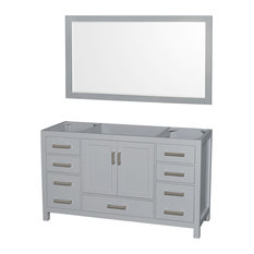 "Sheffield 60"" Single Bathroom Vanity, Gray, No Countertop, No Sink"