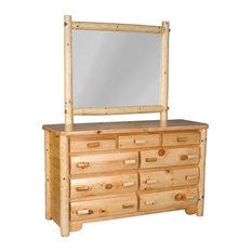 Rustic White Cedar Log 9-Drawer Dresser With Mirror