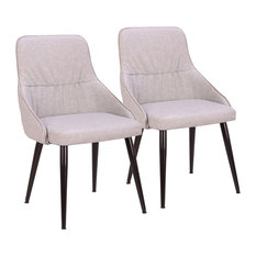 LumiSource Alden Dining Chair Gray PU Leather With Quilted Backrest Set Of 2