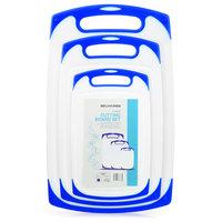 Blumwares 3-Piece Dishwasher-Safe Plastic Cutting Board Set With Non-Slip, Blue