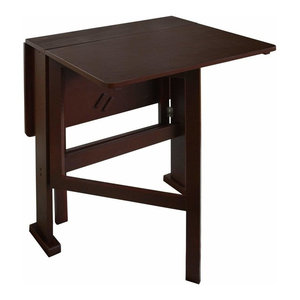 Contemporary Dining Table, Dark Brown Finished Solid Wood