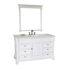 60 Inch Single Sink Vanity-Wood-White