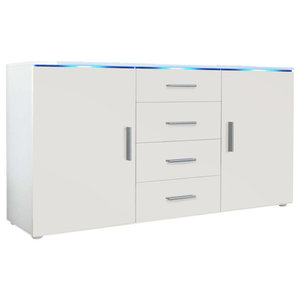 Sideboard, MDF With 2-Door, 4-Drawer and 2 Flexible Shelves, Modern Design