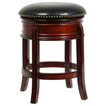 """Boraam - Hamilton Swivel Stool, Brandy, 24"""" - The Hamilton Swivel Bar Stool from Boraam Industries, Inc. boasts a solid hardwood footrest and upholstered cushioned seat. Boasting a 360-degree swivel mechanism, this piece has been designed with your comfort in mind. This stool also features a high-density foam seat cushion upholstered in shiny black bonded leather with 17th Century-inspired brass nailhead trim. Exuding a warm, luxurious feel, thanks to its rich colors and sumptuous textures, this stool from Boraam Industries, Inc. makes a sophisticated addition to any interior space."""