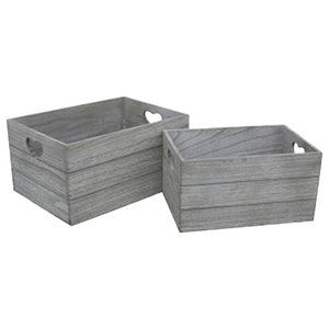 Vintage Effect Heart Cut Handle Wooden Storage Crate, Set of 2