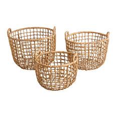 Water Hyacinth and Iron Baskets, Set of 3