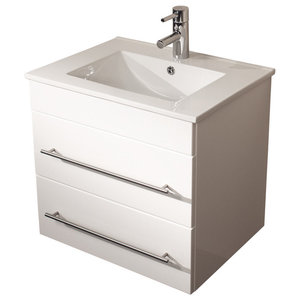 Emotion Milet Bathroom Furniture, 60.5 cm, White High-Gloss