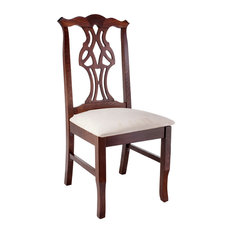 Chippendale Chairs, Walnut Finish, Beige Seat