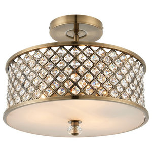 Hudson 3-Light Semi Flush Ceiling Pendant, Polished Chrome