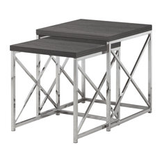 40.5-inch Particle Board And Chrome Metal 2-Pieces Nesting Table Set Grey