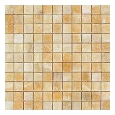 Honey Onyx Mosaic, 1x1, Polished Mosaic Tiles, 10 Sqft