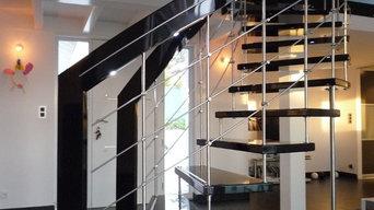 Escalier courbe laqué