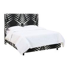 Remington Wingback Bed, Geo Skin Black White, Queen