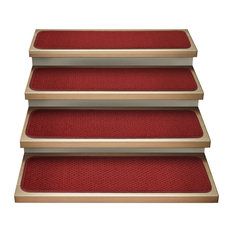 "Set of 12 Attachable Carpet Stair Treads Brick Red, 8""x30"""