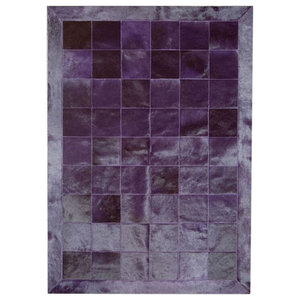 Patchwork Leather Cubed Cowhide Rug, Plain Violet With Border, 200x300 cm