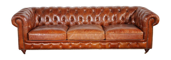 Pasargad Genuine Leather Chester Bay Tufted Sofa