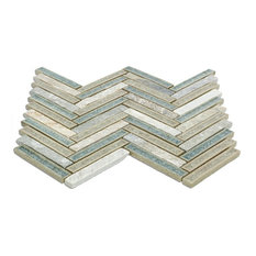 """Roman Selection Crystal Springs 0.56""""x3.8"""" Marble Mosaic Tile, Blue/Gray"""