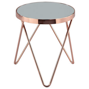 Modern Round Side Table, Steel Frame and Mirrored Glass Top, Copper