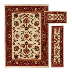 Newcastle Home   Barton Traditional Red And Beige Rug, 3 Piece Set   Area  Rugs