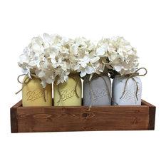 Yellow and Gray Quart Mason Jar Planter Box Rustic Centerpiece, 5-Piece Set