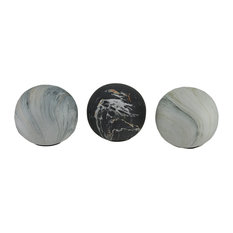 3 Piece Swirling Marble Finish Ceramic Decor Ball Set 4 Inch