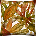 Joita, llc - Brazilia Red Indoor/Outdoor Pillows, Sewn Closure, Set of 2 - Set of 2 - BRAZILIA (red) is a tropical inspired pillow with various tropical plant leaves of jewel colors in red, green, taupe and orange on a cream background. Constructed with an outdoor rated thread and fabric. Printed pattern on polyester fabric. To maintain the life of the pillow, bring indoors or protect from the elements when not in use. Spot clean, hang to dry. Do not dry clean. Two complete pillows with stuffing and sewn closures.