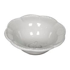 Cream Ceramic Fleur-de-Lis Soup Cereal Bowls, Set of 4 Bowls