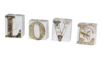 Set of 4 Love Wooden Tealight Candle Holders