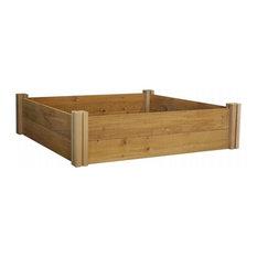 "Gronomics 48""x48"" 2-Level Unfinished Cedar Raised Garden Bed"