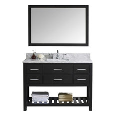 "Caroline Estate 48"" Vanity Set, Top: White Marble, Without Faucet, Basin: Square"