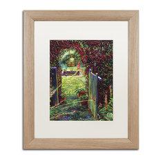"""David Lloyd Glover 'Wicket Garden Gate' Art, Birch Frame, 16""""x20"""", White Matte"""