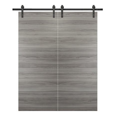 Double Barn Door 72 x 84 & 13FT Rail | Planum 0010 Ginger Ash Grey |