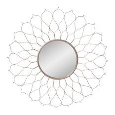 """38"""" Silver Round Flower Petal Sunburst Wall Accent Mirror"""