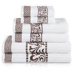 Superior - Decorative Athens 6-Piece Cotton Bath Towel Set, Chocolate - Features: