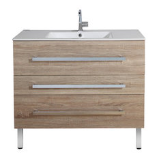 Senso Bathroom Vanity Unit With Drawers and Ceramic Sink, Pale Wood, 100 cm