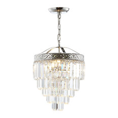 "Wyatt 12"" 2-Light Crystal Chandelier, Polished Nickel and Clear"