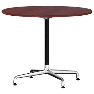 Eames Round Table by Herman Miller, Universal Base, Mahogany Veneer, Black
