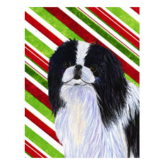 Japanese Chin Candy Cane Holiday Christmas Flag Canvas House Size