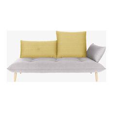 Naoko Grey and yellow right-arm 3 seater sofa