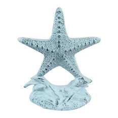 Set of 2 Dark Blue Whitewashed Cast Iron Starfish Book Ends 11""