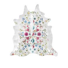 Gypsy Faux Cowhide Rug, White, 150x165 cm