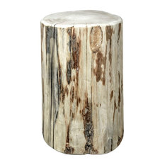 Montana Log Wood 25   Occasional Cowboy Stump Table In Clear Lacquer MWCBOY25V