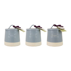 English Tableware Co. Artisan Tea Coffee and Sugar Canisters, Blue, 3-Piece Set