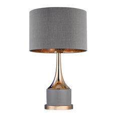 Dimond Small Gold Cone Neck Lamp, Gray, Gold